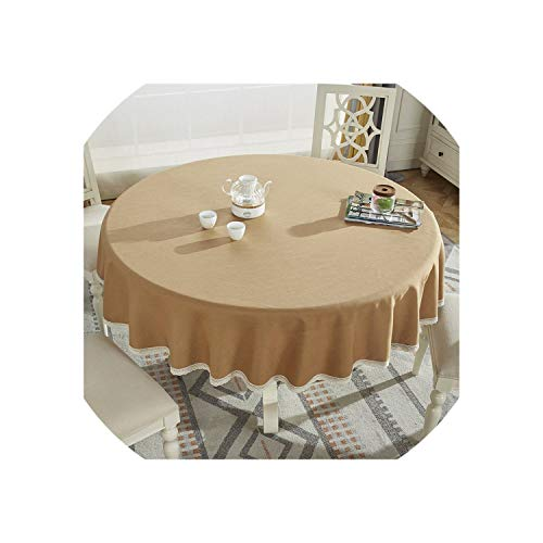 Round Table Cloth Cotton Linen Table Cover Plaid Grid Pattern Christmas Tablecloth Lace Edge Wedding Party Decor Tablecloths,Light Coffee,Diameter 90cm Round (Kohls Christmas Wreath)