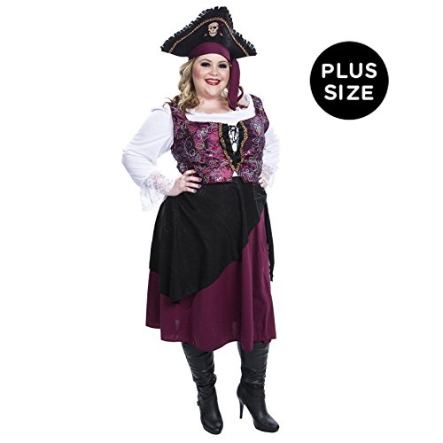 Burgundy Pirate Wench Adult Plus Costume (as Shown;plus Size)