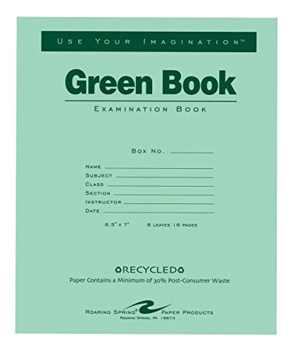 Examination Book (Roaring Spring 77508 Recycled Examination Green Book, 8-1/2