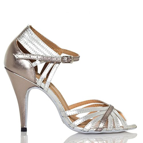 XUE Women's Latin Shoes Sparkling Glitter Sandal Ballroom Shoes/Heel Performance/Professional Rhinestone/Sparkling Glitter Flared Heel Party & Evening Silver (Color : A, Size : 38) A