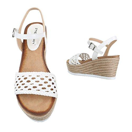 Ital-Design Keilsandaletten Damen Schuhe Plateau Keilabsatz/Wedge Keilabsatz Schnalle Sandalen/Sandaletten Weiß