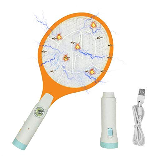 - Rechargeable Bug Zapper, Fruit Fly Killer, Mosquitoes Racket Killer Recquet 4000 Volt, USB Charging, Super-Bright LED Light to Zap in The Dark - Safe to Touch, 3-LED Torch (Electronic Handheld Insect Zapper)