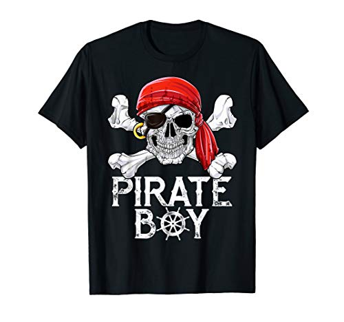 Pirate Boy T shirt Jolly Roger Skull & Crossbones Flag Tees -