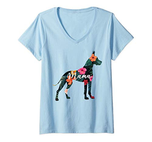 Womens Funny Great Dane Lovers Cute Puppy Danes Dog Mama Gift Women V-Neck T-Shirt]()