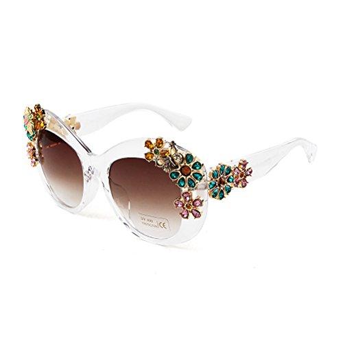 Adewu Women's Luxury Butterfly Crystal Flower Sunglasses (Sunglasses Flower)