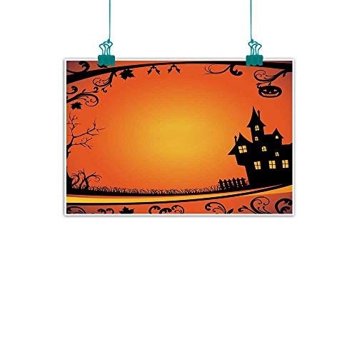 (Warm Family Halloween Abstract Painting Framework with Curvy Tree Branches Swirls Leaves Gothic Castle Festival Natural Art 24