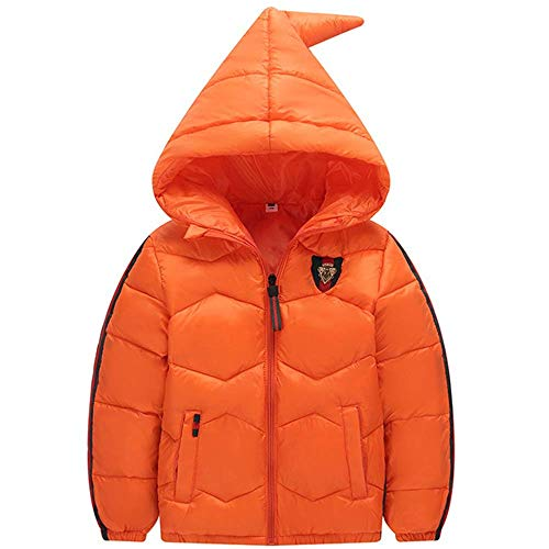 Baby Boys Girls Hooded Snowsuit Winter Warm Fur Collar Hooded Down Windproof Jacket Outerwear(Orange-3-4Years/Tag120)