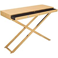 Deco 79 70679 Stainless Steel Pac Leather Console Table, 43 x 32