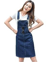 Women's Adjustable Shoulder Strap Denim Bib Overall Dress