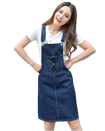 AvaCostume Women's Adjustable Shoulder Strap Denim Bib Overall Dress Blue (Denim Pinafore Dress)