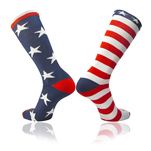 TCK Stars & Stripes American Flag Mismatched Athletic Socks Made in the USA (Multi, Small)
