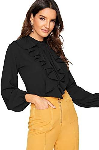 SheIn Women's Long Sleeve Button Down Lotus Ruffled Work Shirt Chiffon Blouse Top