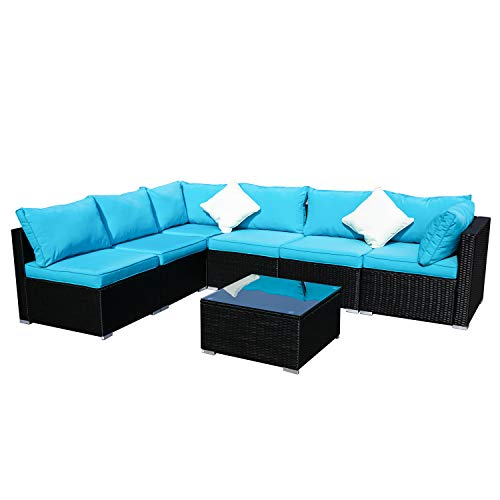 Outdoor Wicker Patio Furniture 7pcs Sectional Cushioned Rattan Conversation Sofa Sets Black (Blue) ()
