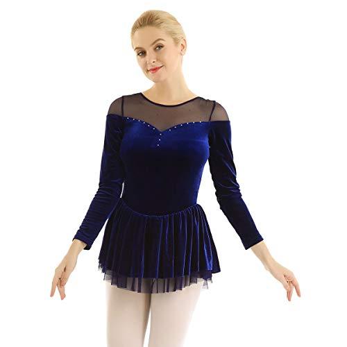 CHICTRY Women's Long Sleeve Velvet Figure Skating Dress Camisole Bodysuit Navy Blue Large ()
