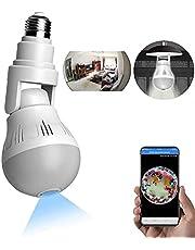 WANYANG Câmera de Segurança WiFi, 1080P Câmera de 360° Panorâmica E27 Lâmpada Câmera Espiã com visão noturna, Câmera lâmpada Espia para Celular Android / IOS