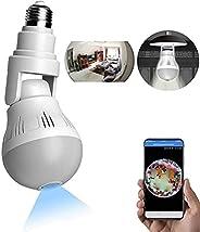 WANYANG Câmera de Segurança WiFi, 1080P Câmera de 360° Panorâmica E27 Lâmpada Câmera Espiã com visão noturna,