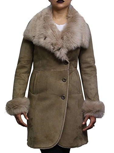 - Women's Biege Spanish Merino Lamb Suede Finish Ladies Real Toscana Sheepskin Leather Coat (Small 8)