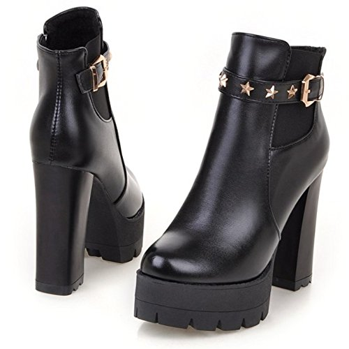 LongFengMa Women's High Heel Block Heel Platform Ankle Boots Black RCiYIY