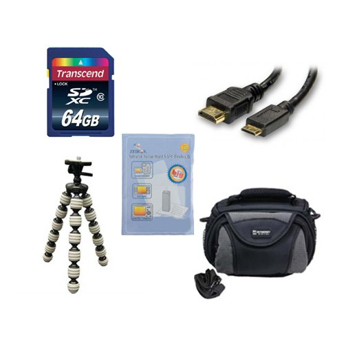Panasonic HC-V550E Camcorder Accessory Kit includes: KSD64GB Memory Card, SDC-26 Case, HDMI6FM AV & HDMI Cable, ZELCKSG Care & Cleaning, GP-22 Tripod by Synergy Digital