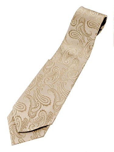 Brand Q Paisley Men's Necktie and Pocket Square set in Champagne