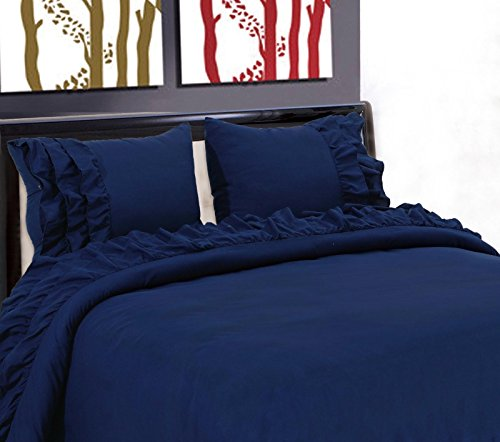 - New Gypsy Style Microfiber Pillow Cases Flat Fitted Bed Sheet Set Ruffle 3/4PC/Full/Navy