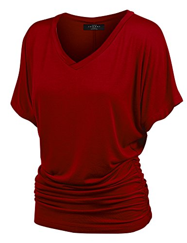 (Made By Johnny MBJ WT1037 V Neck Short Sleeve Dolman Top with Side Shirring XXL Wine)