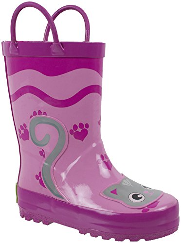 Rainbow Daze Pretty Kitty Pink Kitty Cat Printed Rubber Rain Boots for Kids size 7/8 Cat Shoes Boots