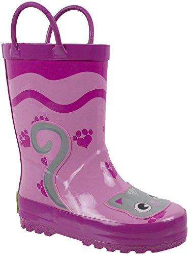 Rainbow Daze Kids Rain Boots, Pretty Kitty Pink Cat, Waterproof, 100% Rubber, Little Kid Size 11/12