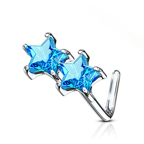 Double Star CZ L-Shaped Surgical Steel Nose Ring Stud 20 Gauge (Aqua Cubic Zirconia Star)