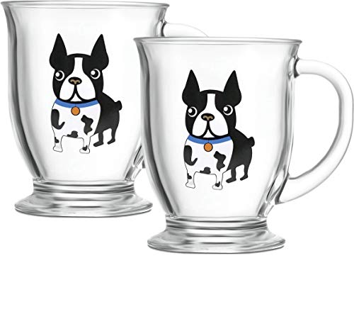 (Circleware 15511 Boston Terrier Coffee Mug with Handle, Set of 2 Glasses Entertainment Home & Kitchen Beverage Dining Glassware for Water, Beer, Wine, Whiskey, Juice and Drinks, 16 oz, Blue)