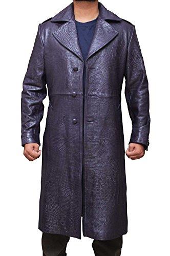 Joker Suicide Squad Purple Real Leather Long Coat XXXL