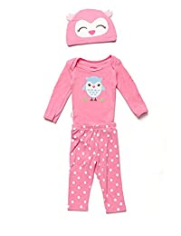 Baby Creysi Conjunto Rosa Cardigan Búho Conjunto para Niñas