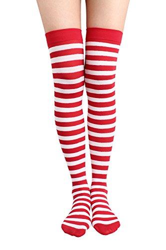 Jasmino Women Striped Thigh High Socks, Colorful Over Knee Hosiery Stockings (Red White) from JASMINO