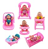 Liberty Imports Cute Lil Baby Doll Collection | Set of 6 Mini Infant All Vinyl Dolls for Girls with Cradle, High Chair, Walker, Swing, Bathtub and Infant Seat (5' Tall)
