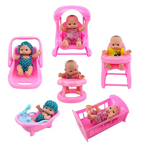 "Liberty Imports Cute Lil Baby Doll Collection | Set of 6 Mini Infant All Vinyl Dolls for Girls with Cradle, High Chair, Walker, Swing, Bathtub and Infant Seat (5"" Tall)"