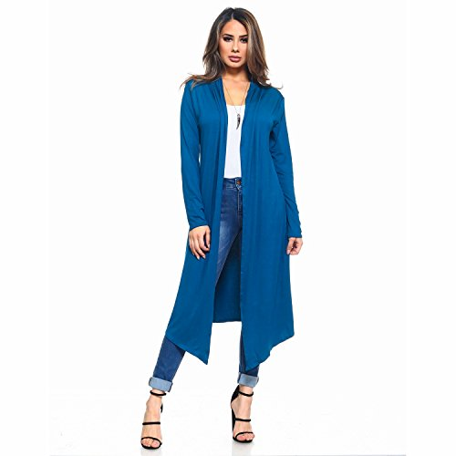 Duster Front Open - Isaac Liev Women's Trendy Extra Long Duster Open Front Long Sleeve Light Weight Maxi Cardigan (Small, Teal Dark)