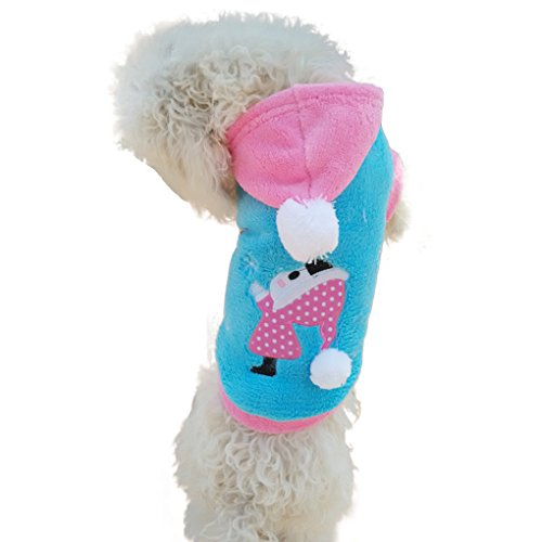 Starsource Dog Pet Puppy Cat Soft Fleece Autumn Winter Christmas Warm Sweatshirt Hoodie Shirt Jacket Coat Outwear Snow suit Clothes, S-XL Size,Blue