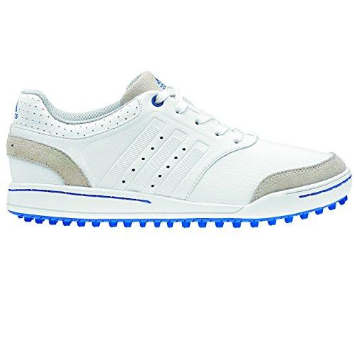 Adidas Junior Adicross III Spikeless Golf Shoes - White/Blue 4 Youth
