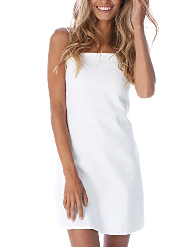 Simplee Womnen's Summer Casual Hollow out Plain Strap Bodycon Mini Dress, White, 8/10, (Womens Mini Day Dress)