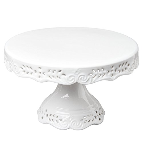 Gracie China 10-Inch Diameter Victorian Rose Fine Porcelain Round Pedestal Cake Stand Off White