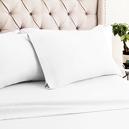 Luxor Linens Bamboo King Sheets - 4pc Set (2 Pillowcases, 1 Fitted Sheet, 1 Flat Sheet) - 18 inch Deep Pockets – Premium Hotel Quality, Soft, Luxurious & Hypoallergenic (King, ()