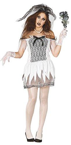 Ladies Dead Corpse Zombie Spooky Horror Bride Halloween Fancy Dress Costume Outfit UK 8-14 (UK -