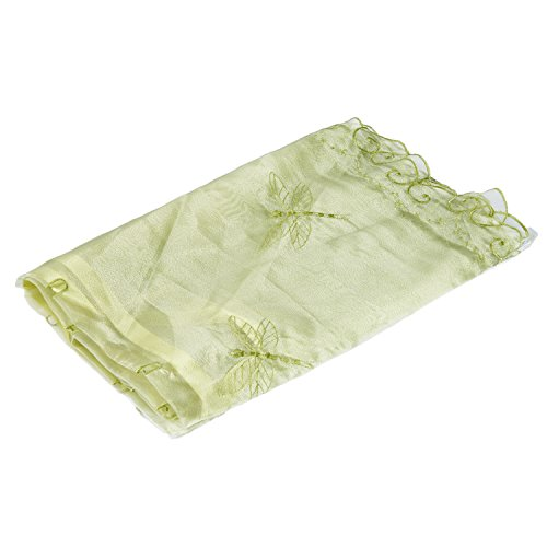 Best Dragonfly Embroidery Polyester Tie-Up Window Shade Balcony Window Drape Panel Scarf Valances Curtain Light Green 33''W x 57''H by Comforbed (Image #1)