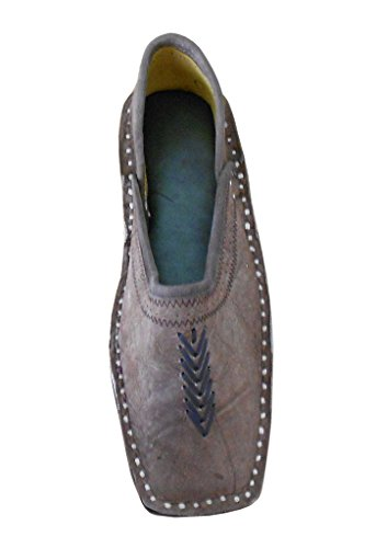Kalra Creations Men's Traditional Leather Indian Loafer Shoes Brown vEgR6X