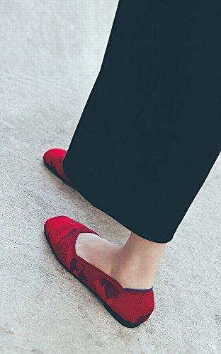 Tête CWJ Paresseux Respirante Mode Doux Chaussures Rouge Carrée Shallow Fond Stretch Tissu Bouche qEvaAnE