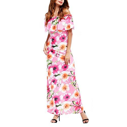 Estampado Maxi del fuera floral bola Mujeres hombro de vestido c elegantes Bodycon grande Retro Talla wnfx8qvg