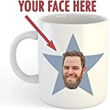 Personalized Star Face Mug - Funny Custom Office Gift - Add Your Own Face - 11oz Ceramic Coffee Cup