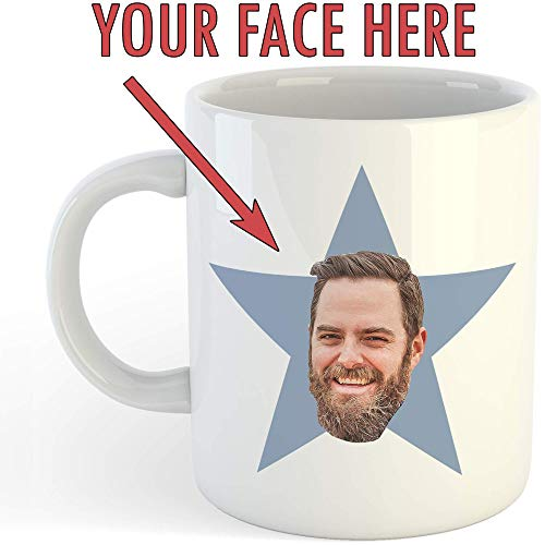 Personalized Star Face Mug - Funny Custom Office Gift - Add Your Own Face - 11oz Ceramic Coffee -