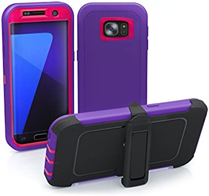 newest 08a44 dd9cf Galaxy S7 Edge Case, ToughBox® [Armor Series] [Shock Proof] [Purple | Pink]  for Samsung Galaxy S7 Edge Case [Built in Screen Protector] [Holster & ...