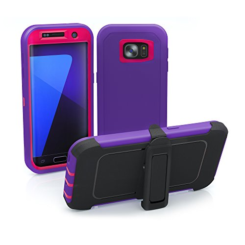 Galaxy S7 Edge Case, ToughBox [Armor Series] [Shock Proof] [Purple | Pink] for Samsung Galaxy S7 Edge Case [Built in Screen Protector] [Holster & Belt Clip] [Fits OtterBox Defender Series Clip] (Green Line On Screen Galaxy S7 Edge)